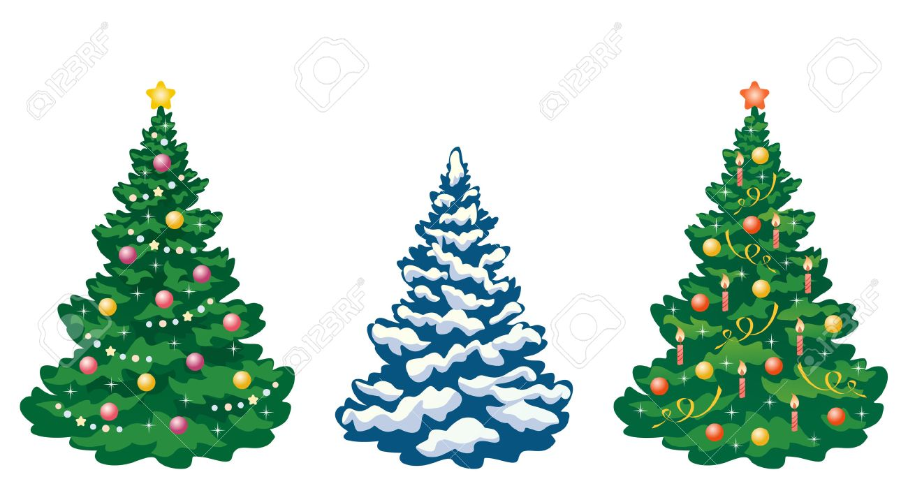 vector collection of cartoon christmas trees royalty free cliparts
