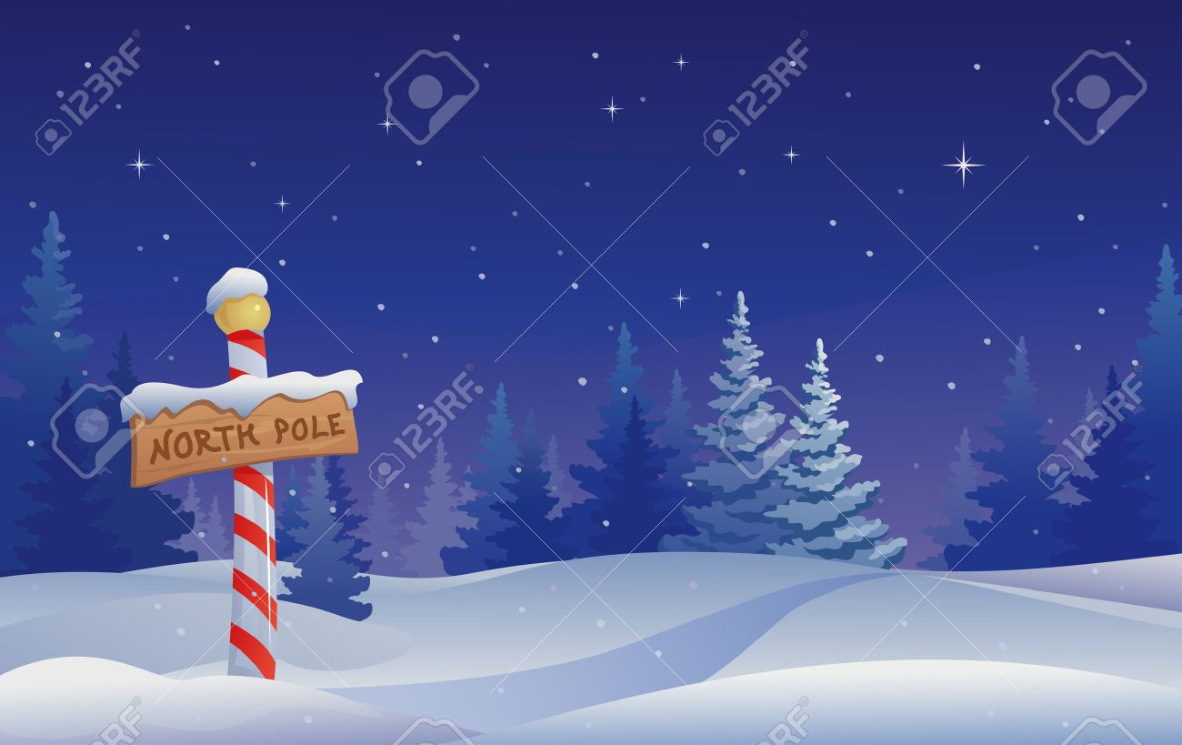 Vector Christmas Illustration With A North Pole Sign Royalty Free ...