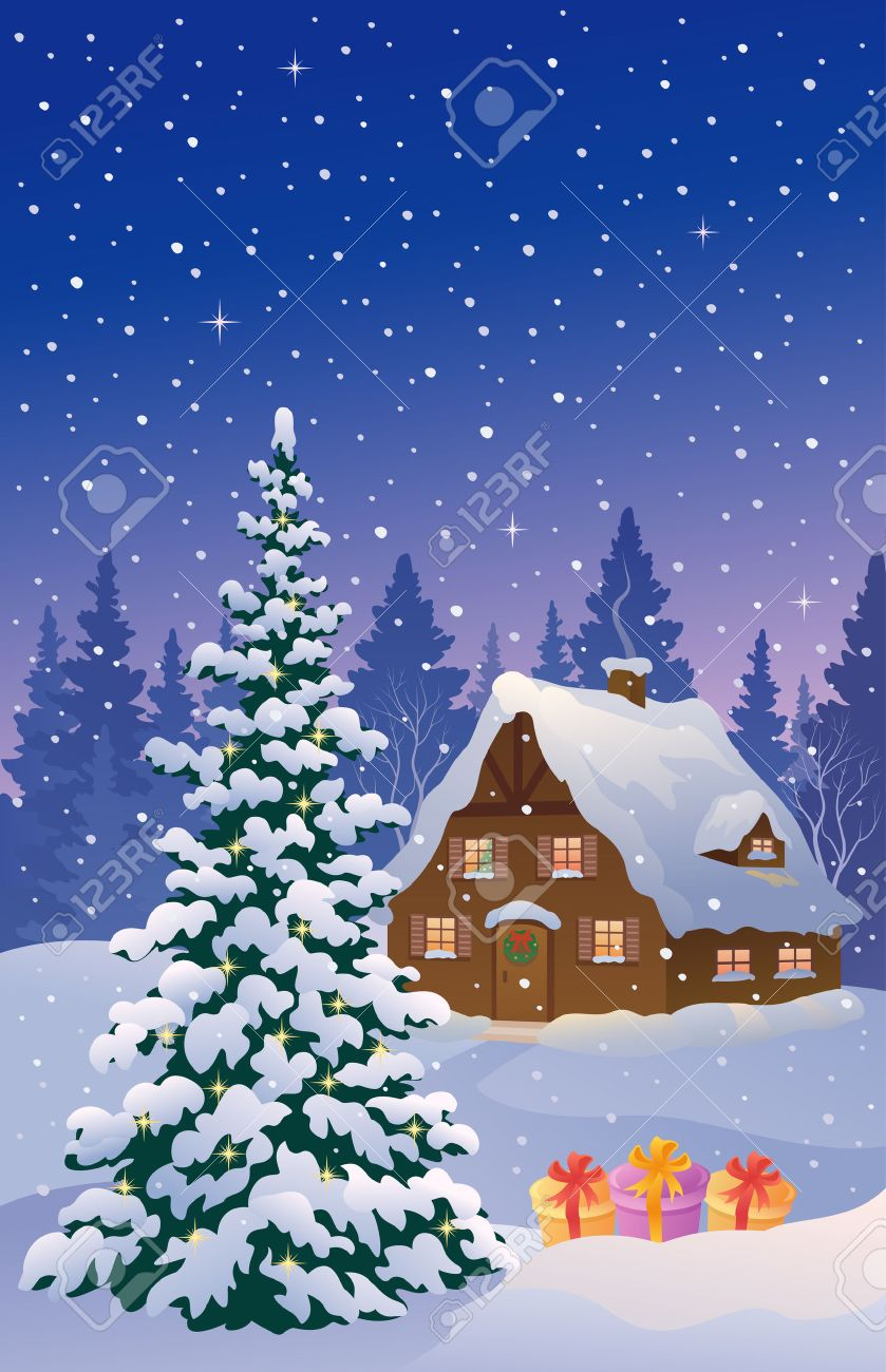 Vector Illustration Of A Snowy Christmas Cottage Foto De Archivo