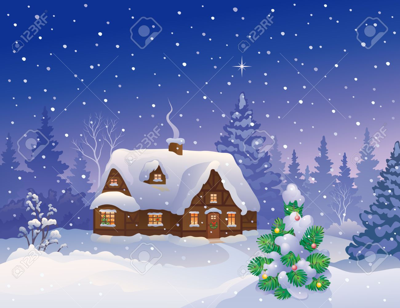 Vector illustration of a snowy Christmas cottage Stock Vector - 23039598