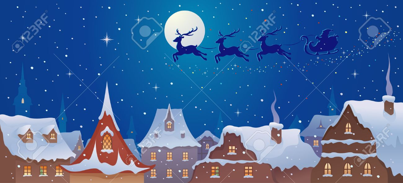 Vector illustration of Santa s sleigh flying over old town s rooftops Stock Vector - 23039604