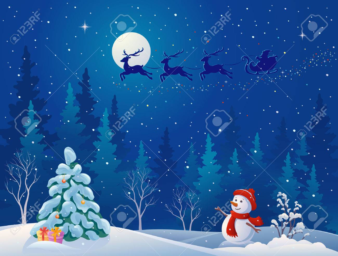 Vector illustration of Santa's sleigh flying over woods, and greeting snowman - 23039606