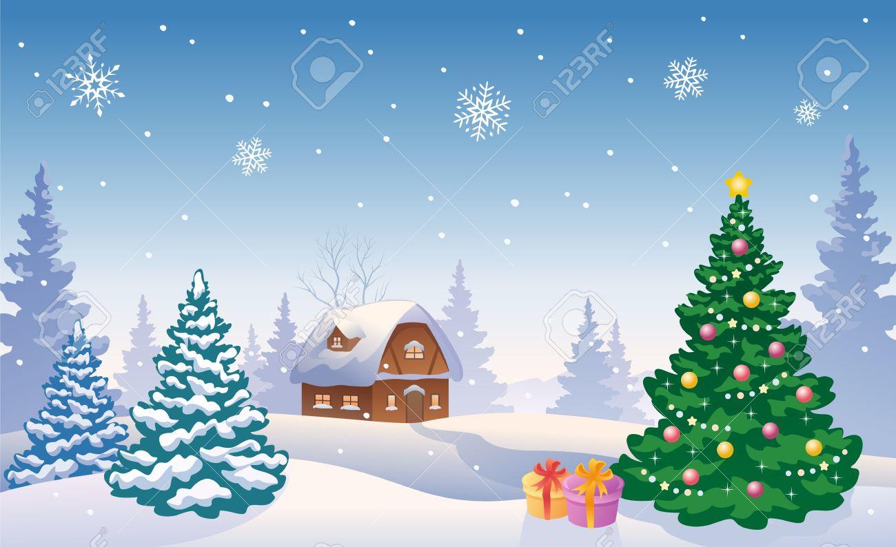 クリスマス ツリーと雪の風景のベクトル イラストのイラスト素材ベクタ