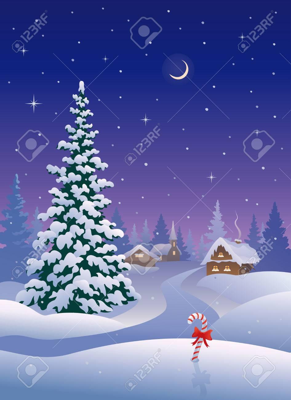 雪のクリスマスの村のイラスト ...