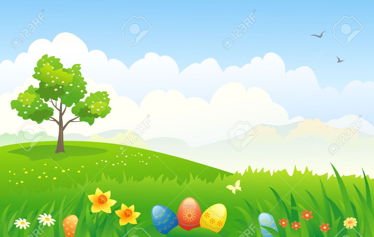 vector illustration of an easter landscape royalty free cliparts
