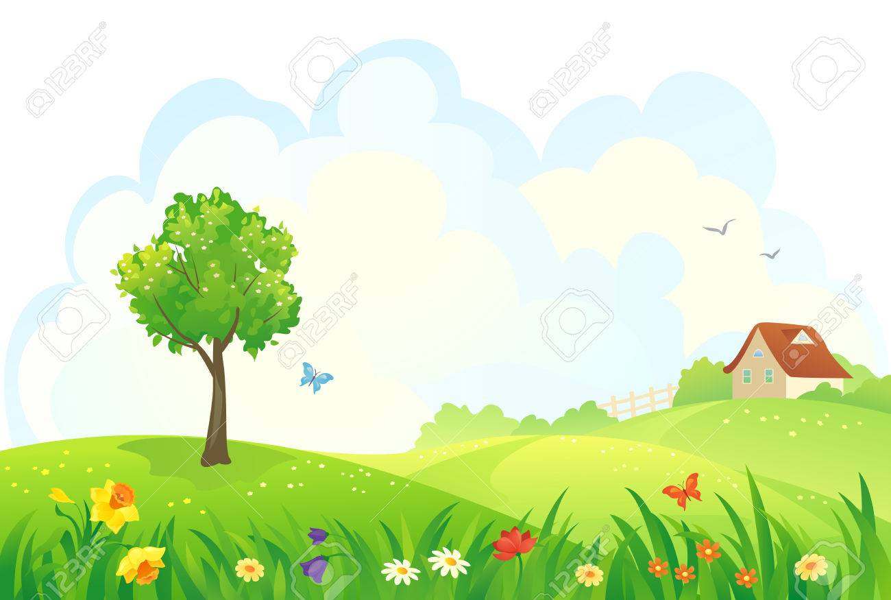 Vector illustration of a rural spring day - 37156838