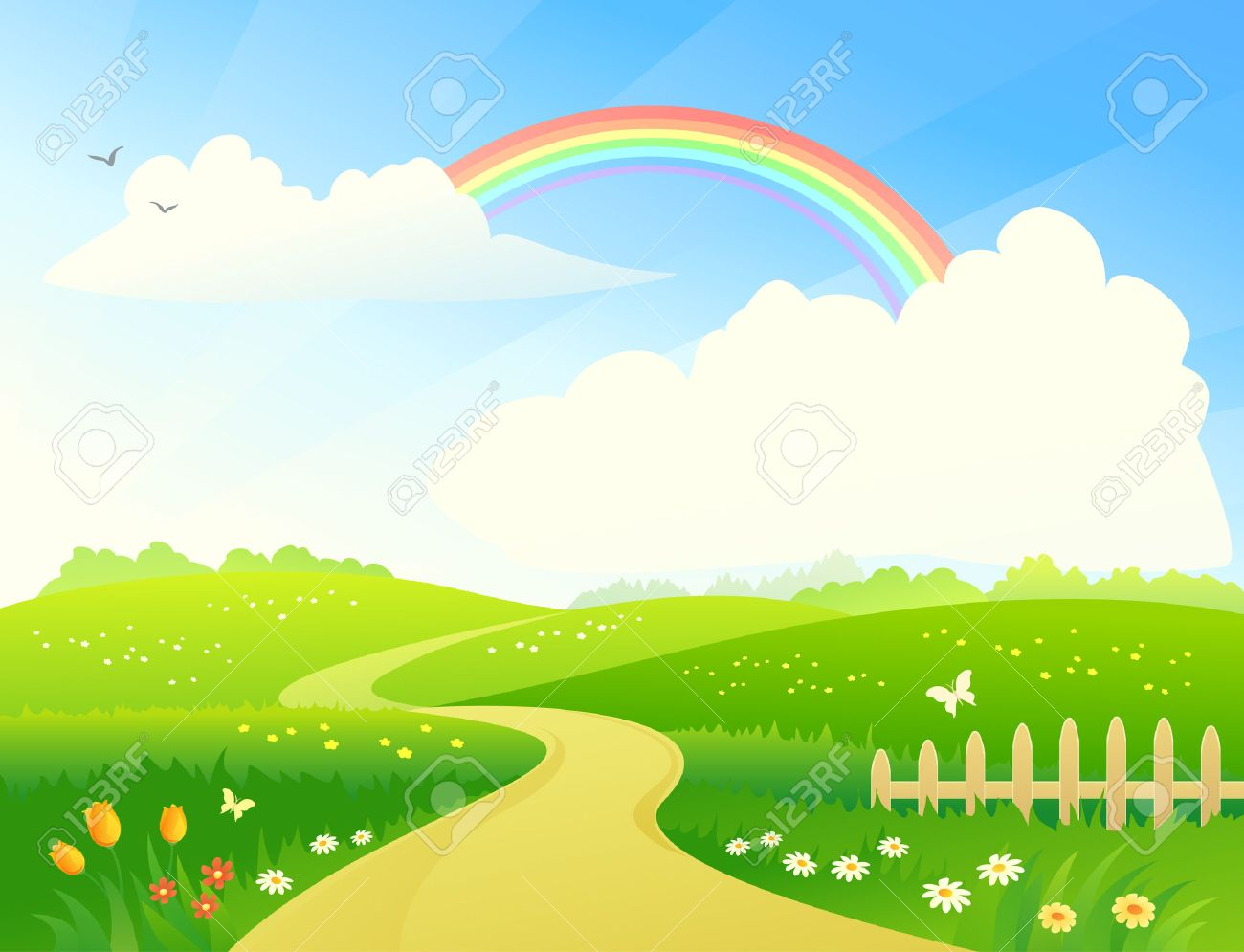 vector illustration of a hilly landscape with a rainbow royalty