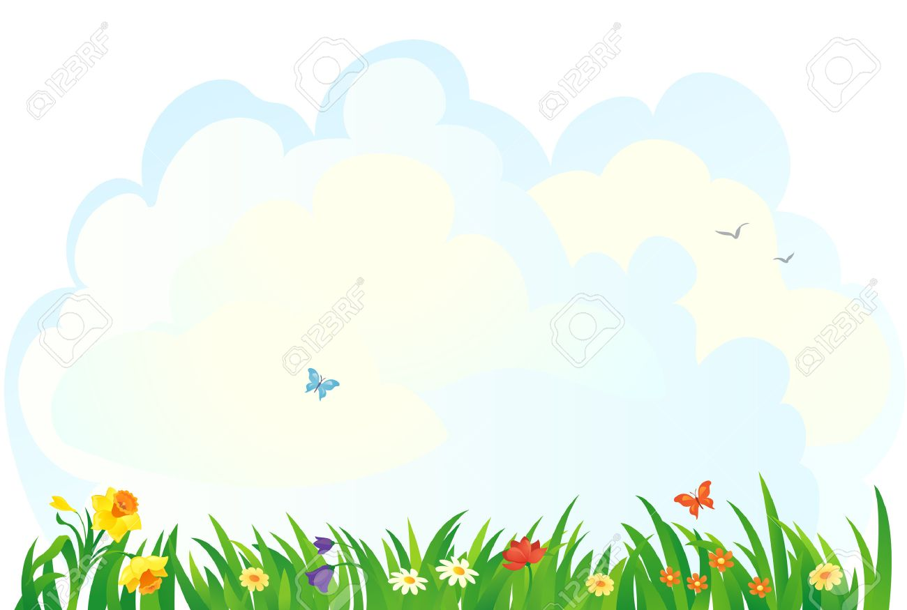 vector background with a spring grass and flowers royalty free