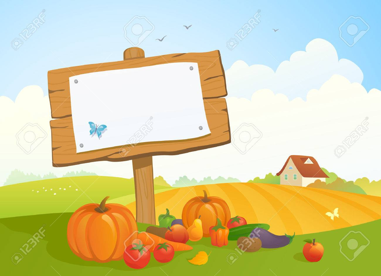 illustration of a fall harvest and Thanksgiving landscape with a wooden signboard - 43941050