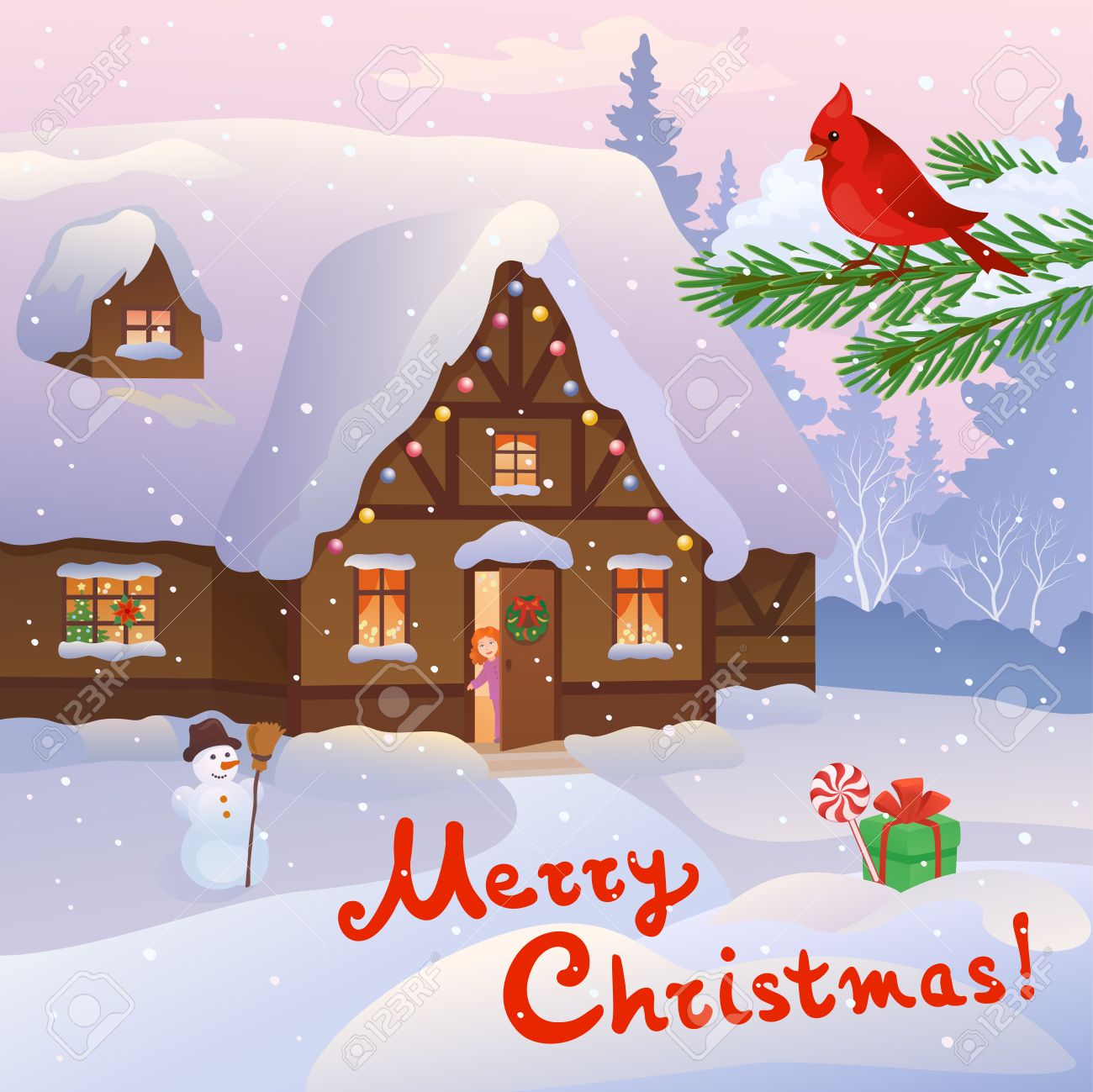 The Christmas Cottage.Vector Cartoon Illustration Of A Christmas Cottage And A Little