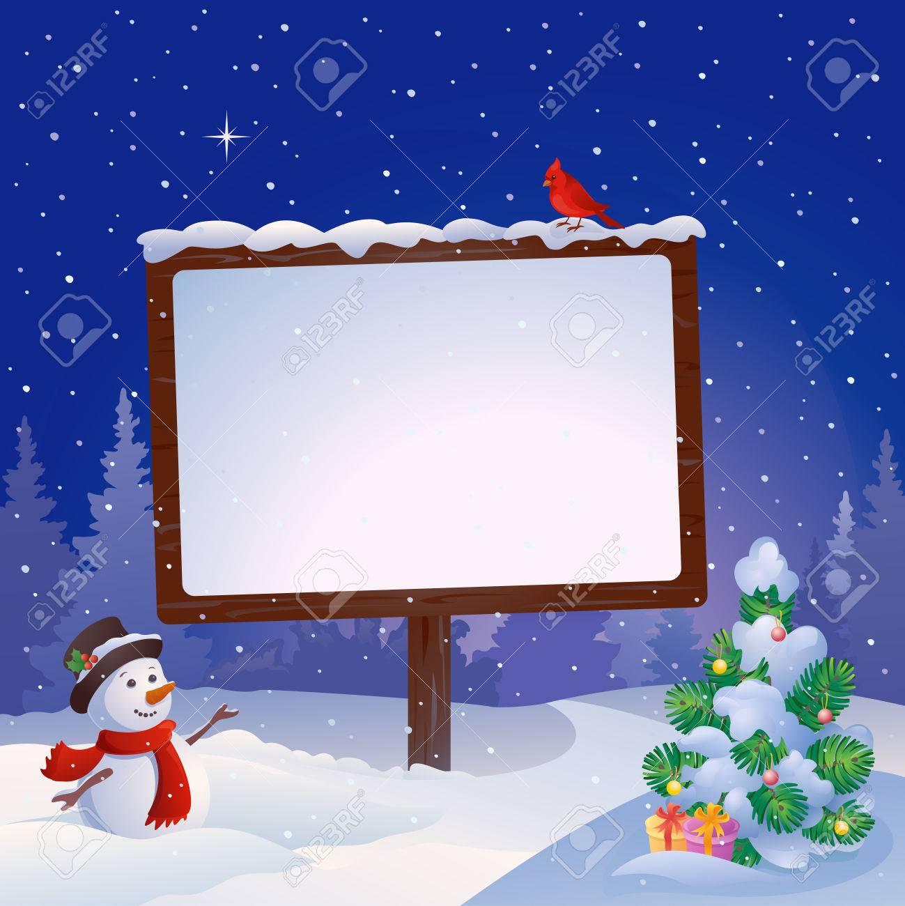 クリスマスの看板と積雪のモミの木で雪だるまのベクトル イラストの