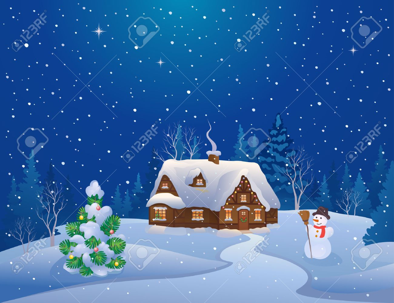 Vector Illustration Of A Snowy Christmas Night Scene With A Home ...