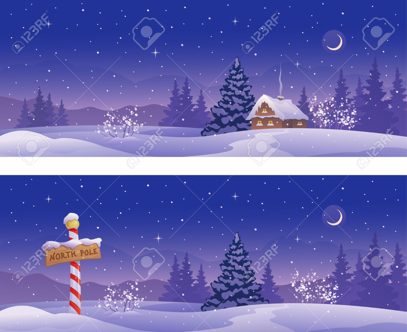 Vector Illustration Of Christmas Night Banners With A North Pole ...