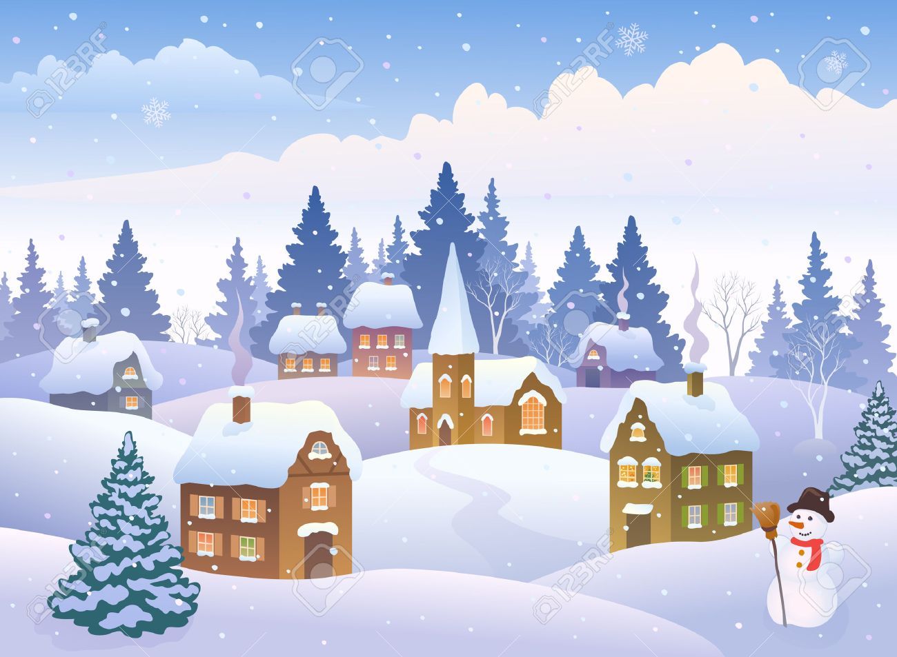 Vector Illustration Of A Winter Landscape With A Small Snowy Town