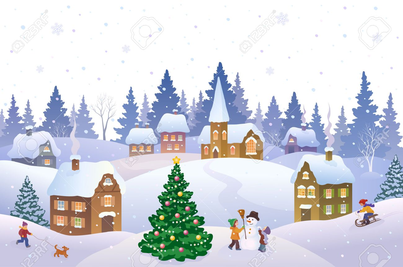 Christmas Scene.Vector Illustration Of A Christmas Scene In A Small Snowy Town