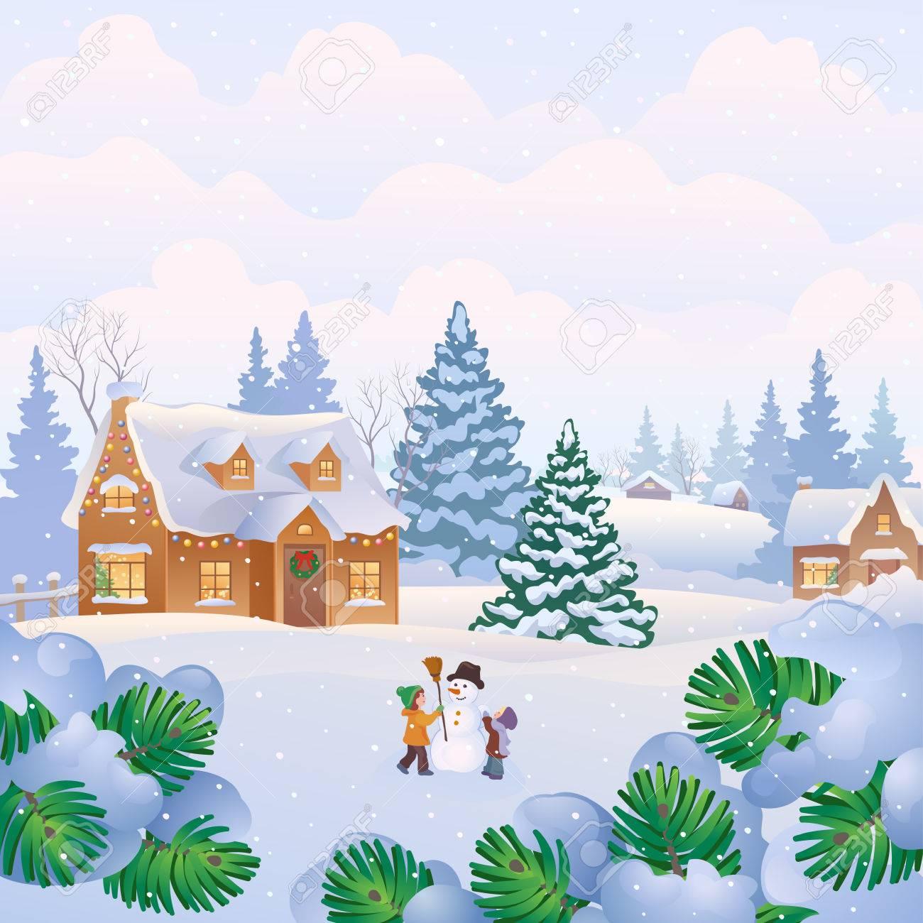 家の雪と雪だるまを作って子供のクリスマス風景のベクトル イラストの