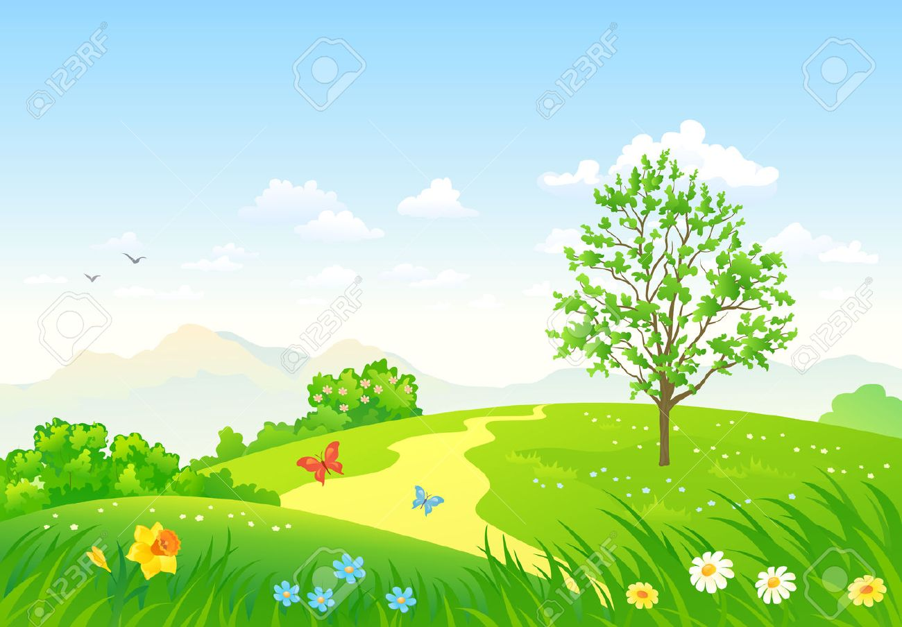 Vector illustration of a beautiful green spring landscape - 53981958