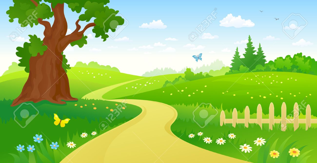 illustration of a summer forest path - 59161344