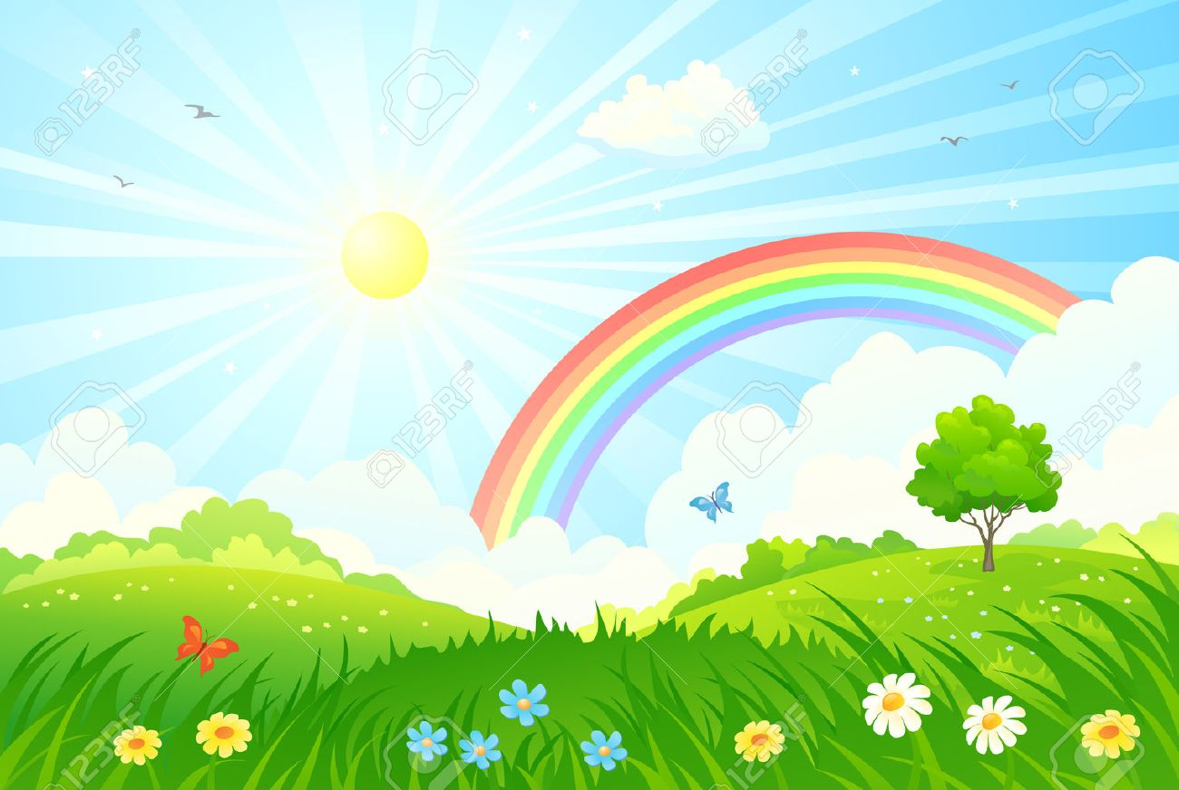 illustration of a beautiful summer landscape with sun and rainbow - 59163824
