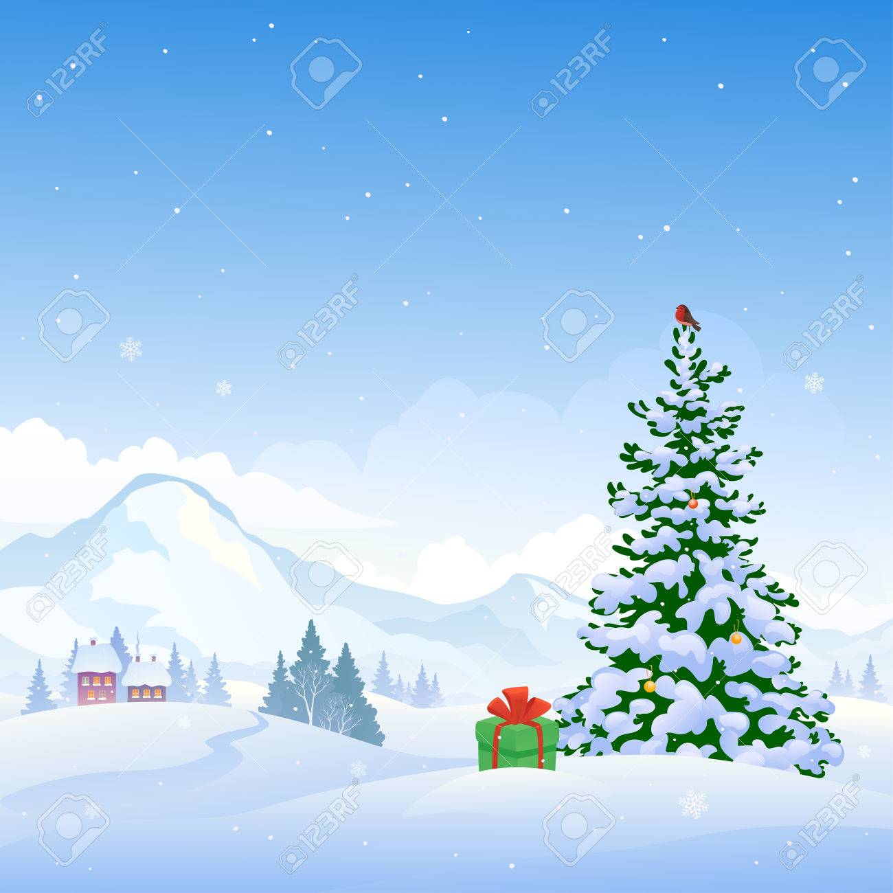 Mountain Christmas Tree.Illustration Of A Beautiful Christmas Nature Background With