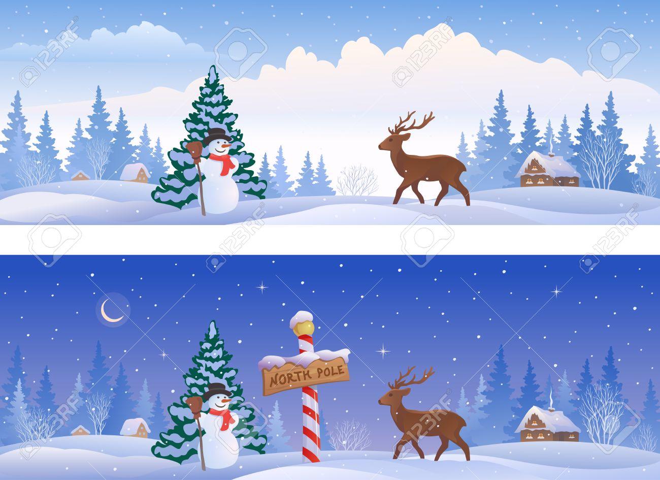 北極記号雪だるま鹿パノラマ バナー クリスマス風景のイラストの