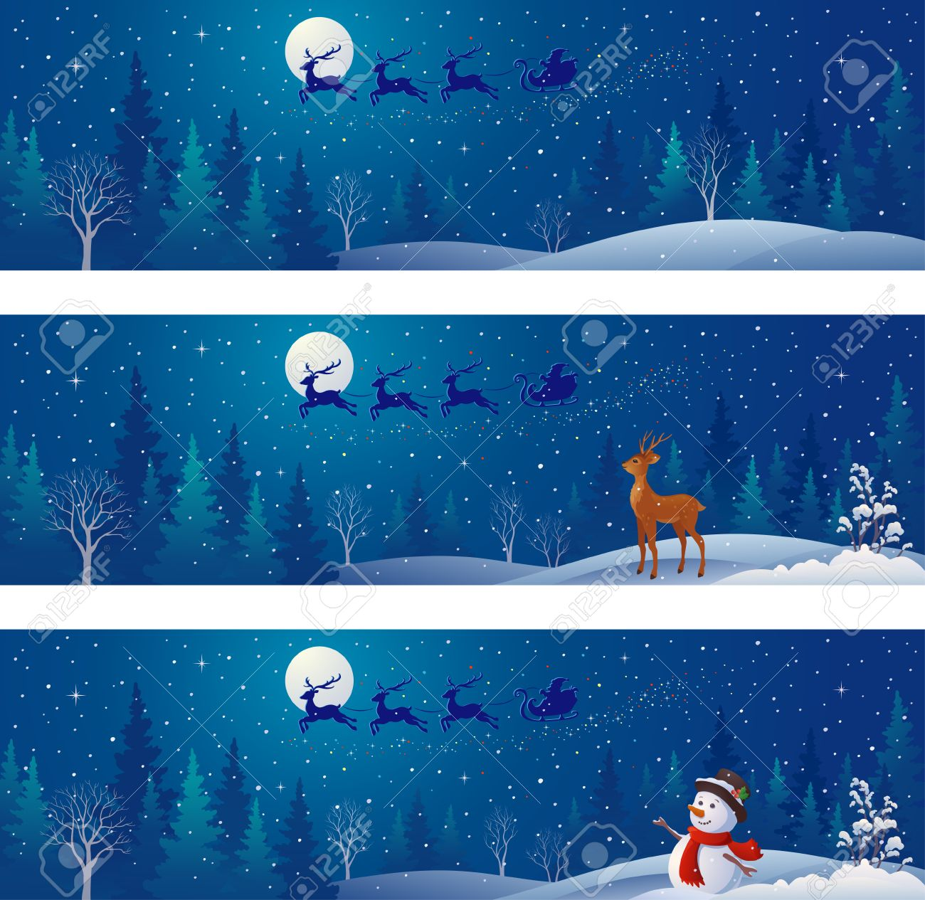 Christmas Scene Drawing.Drawing Of Christmas Night Scenes With Santa Claus Sleigh Silhouette
