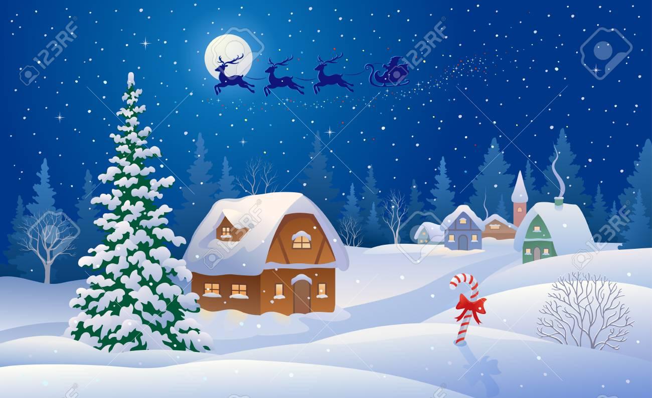 Christmas Scene.Vector Illustration Of A Christmas Scene With Santa Sleigh Flying