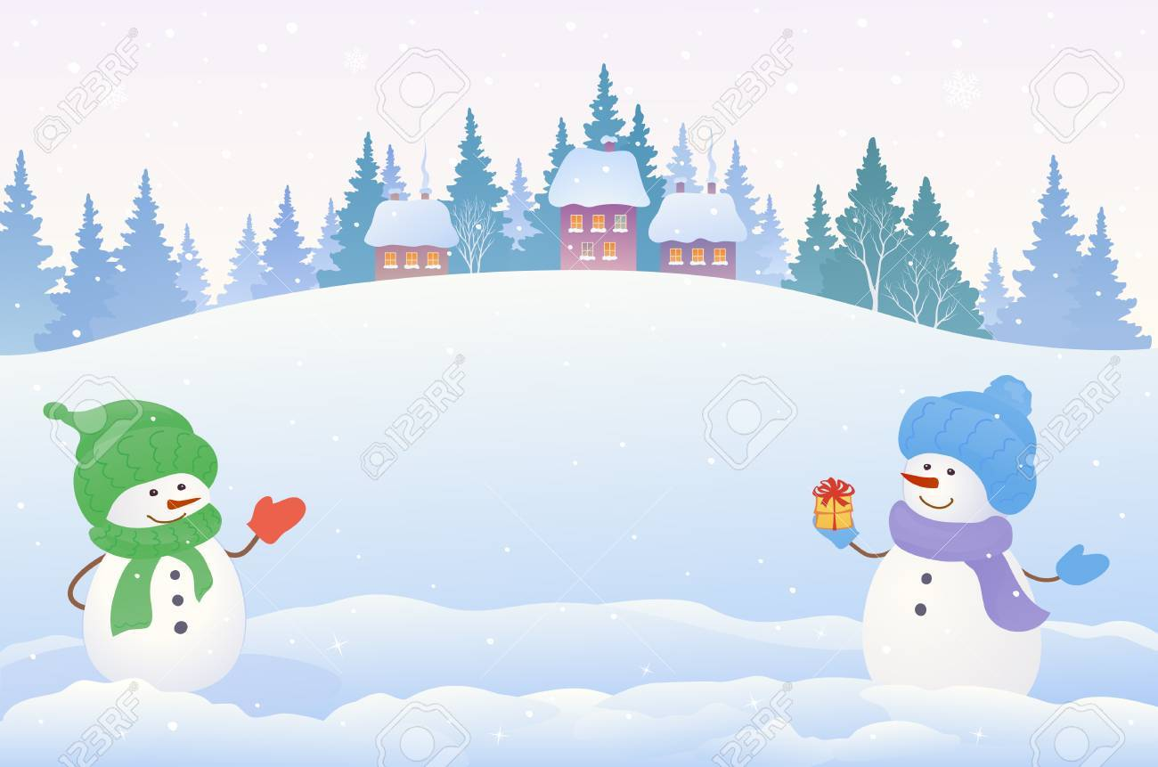 vector drawing of a christmas snow scene with two cute snowmen rh 123rf com christmas snow scene clipart snow scene clip art free