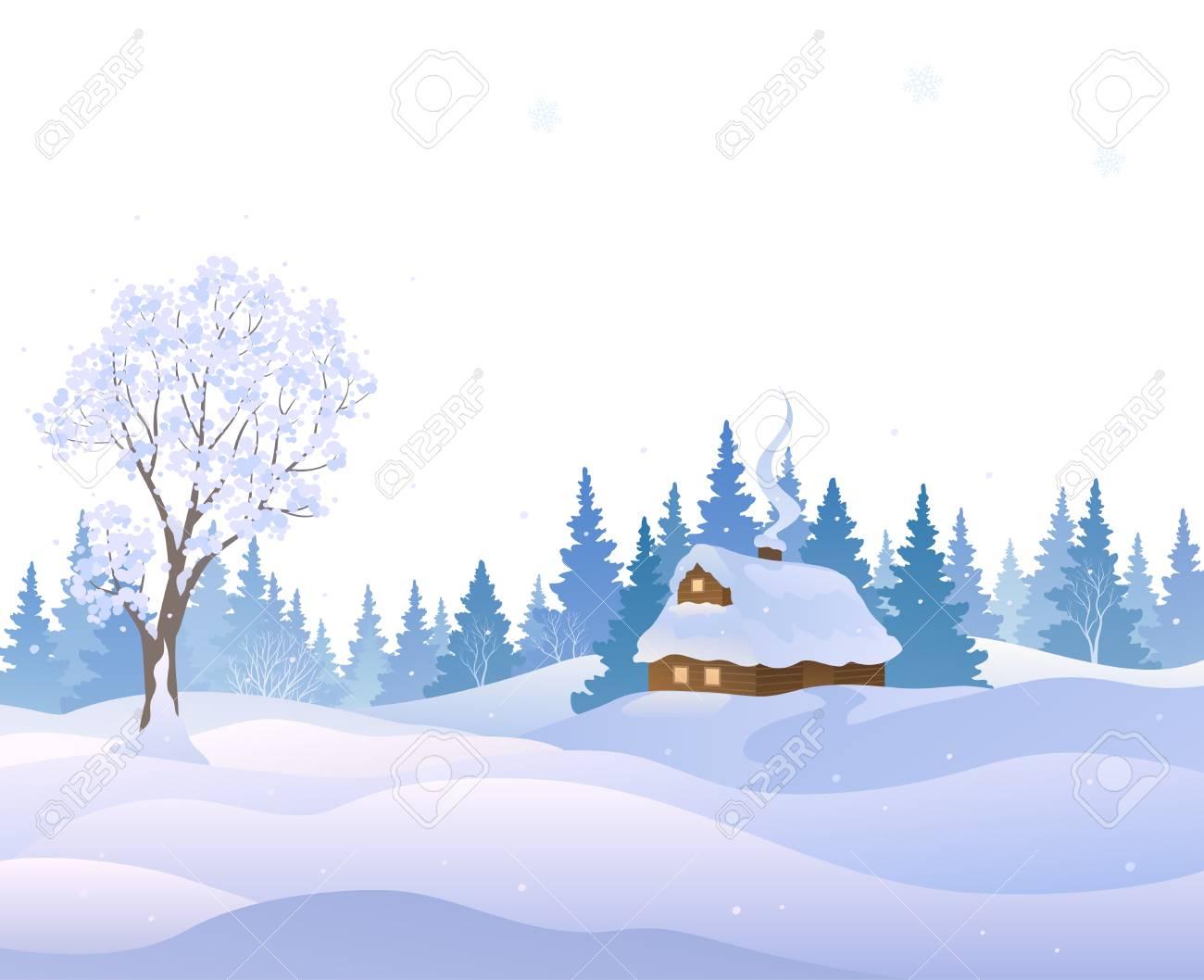 雪のある冬景色のベクトル イラスト カバー白い背景で隔離の家の