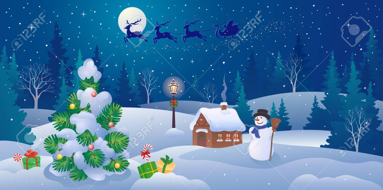 クリスマス風景パノラマとサンタ クロースのベクトル イラストそりの