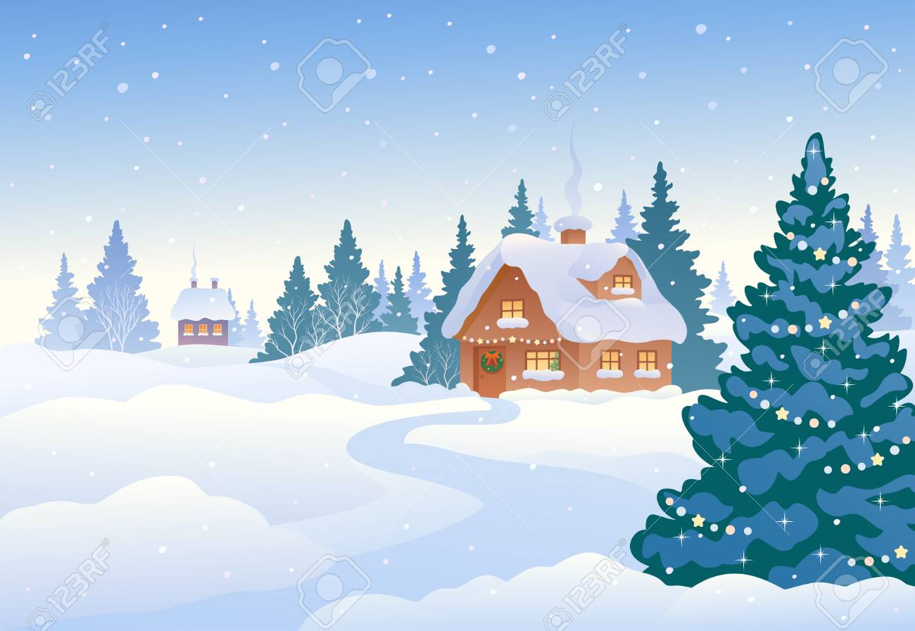 Vector Illustration Of A Beautiful Christmas Landscape, Winter ...