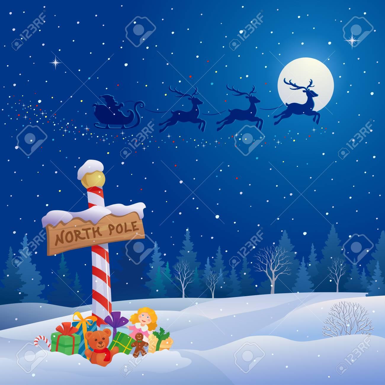 Vector illustration of Santa Claus sleigh - 89991828