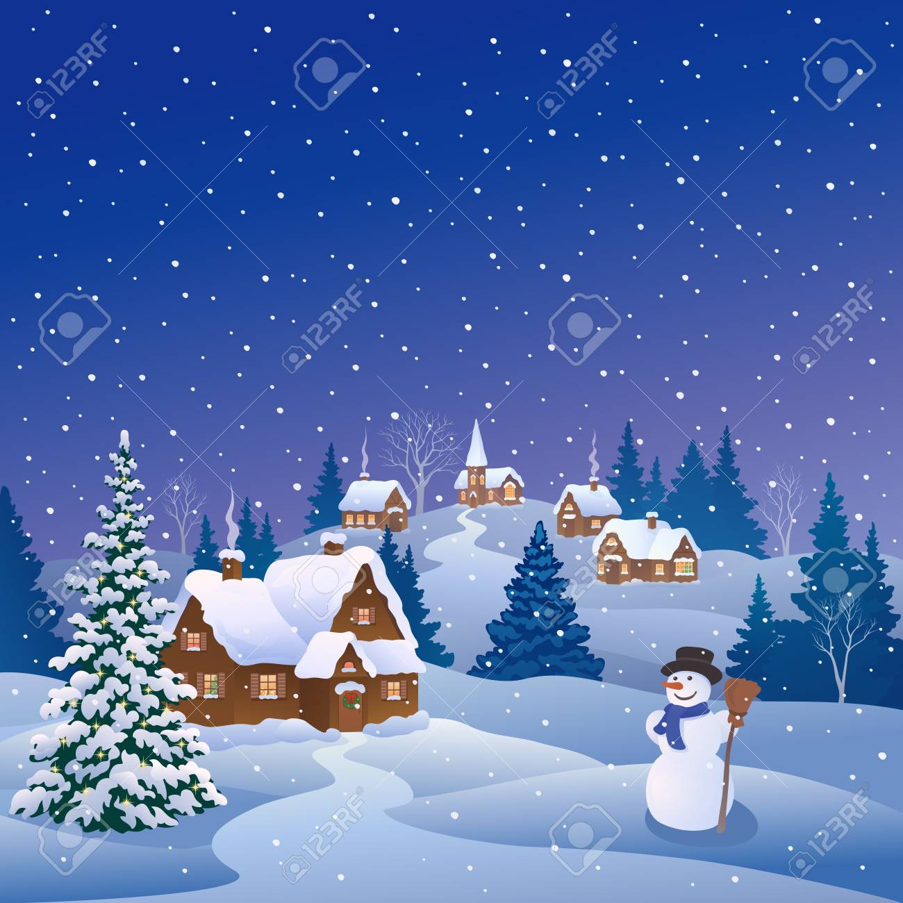 Snowing Christmas Tree.Vector Cartoon Drawing Of A Snowy Christmas Tree And A Cute Snowman