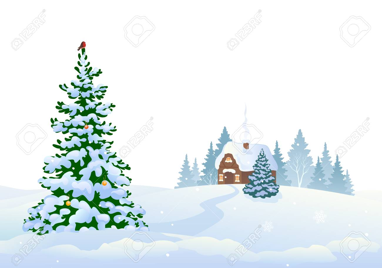 Vector illustration of winter woods and a small house, isolated on a white background - 109887654