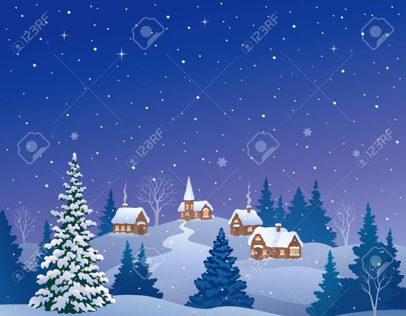 Vector cartoon illustration of a snowy winter village - 109887685