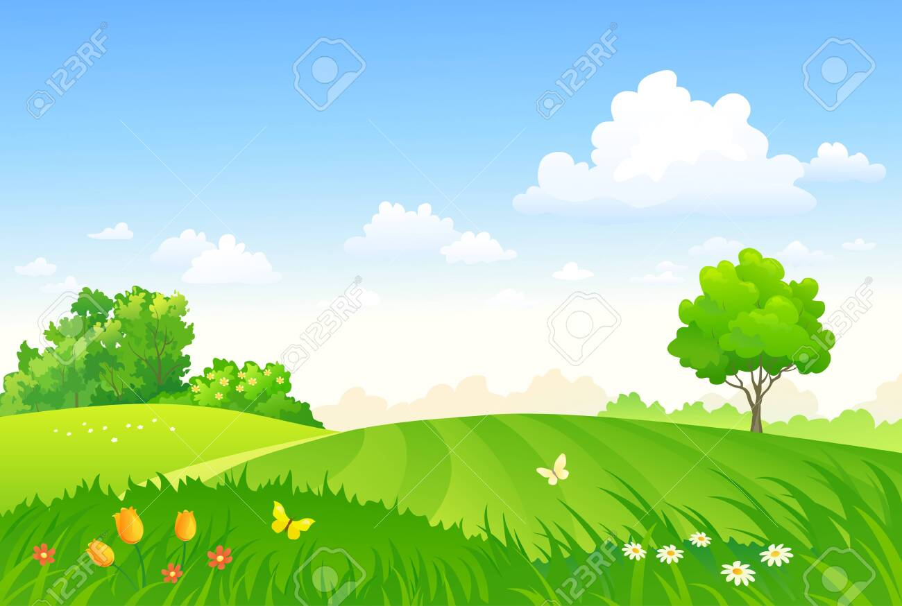 Vector drawing of a spring pasture - 129752938
