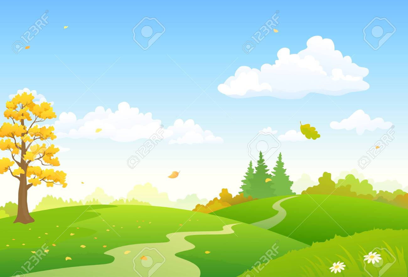 Vector cartoon illustration of a colorful autumn scenery - 129752964