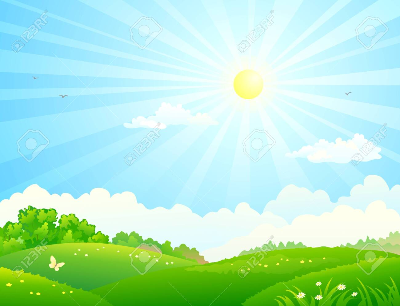 Vector illustration of green fields and sunny sky - 148211514