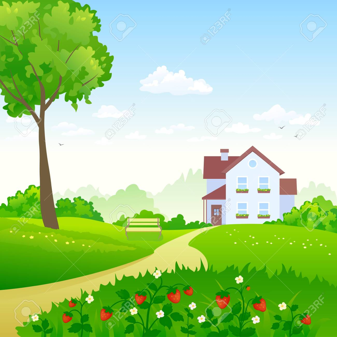 Vector illustration of a green garden with a strawberry meadow - 149977871