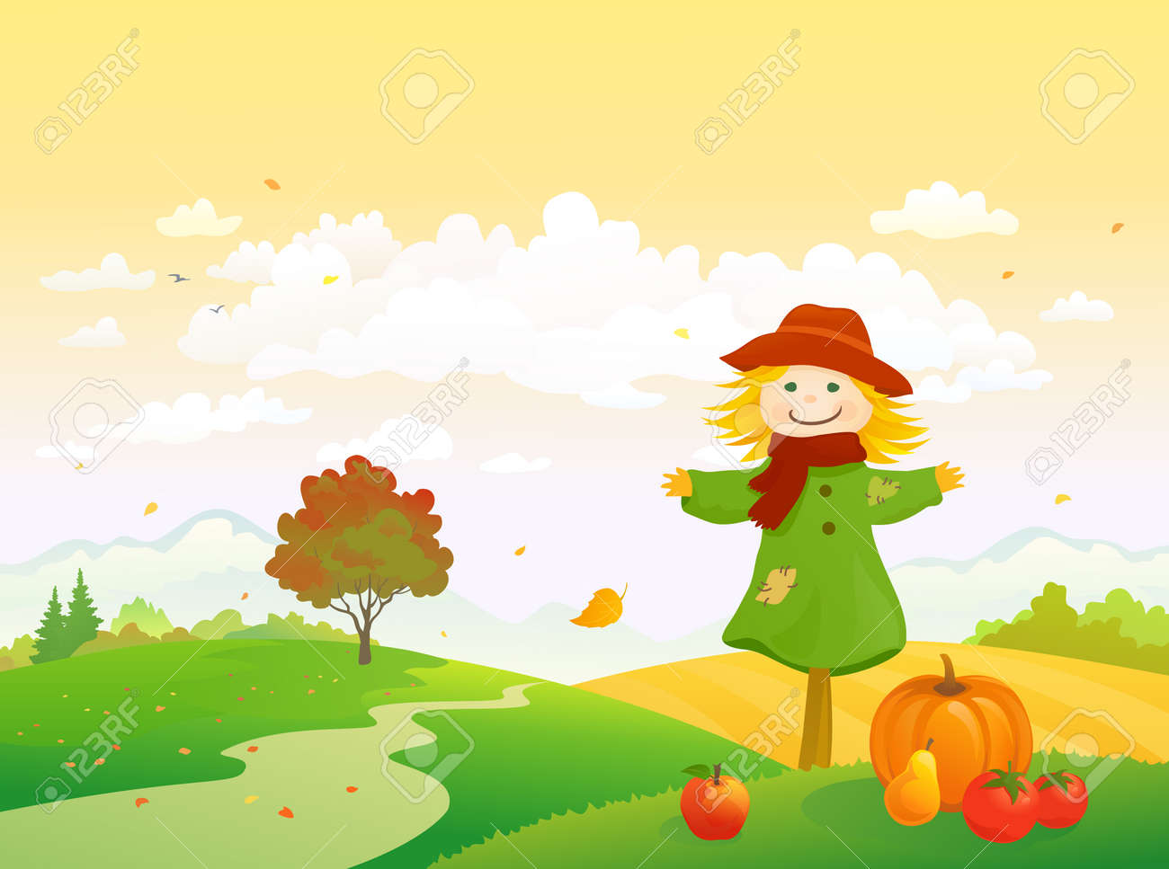 Vector illustration of an autumn harvest scene with a cute scarecrow, Thanksgiving landscape - 153978006