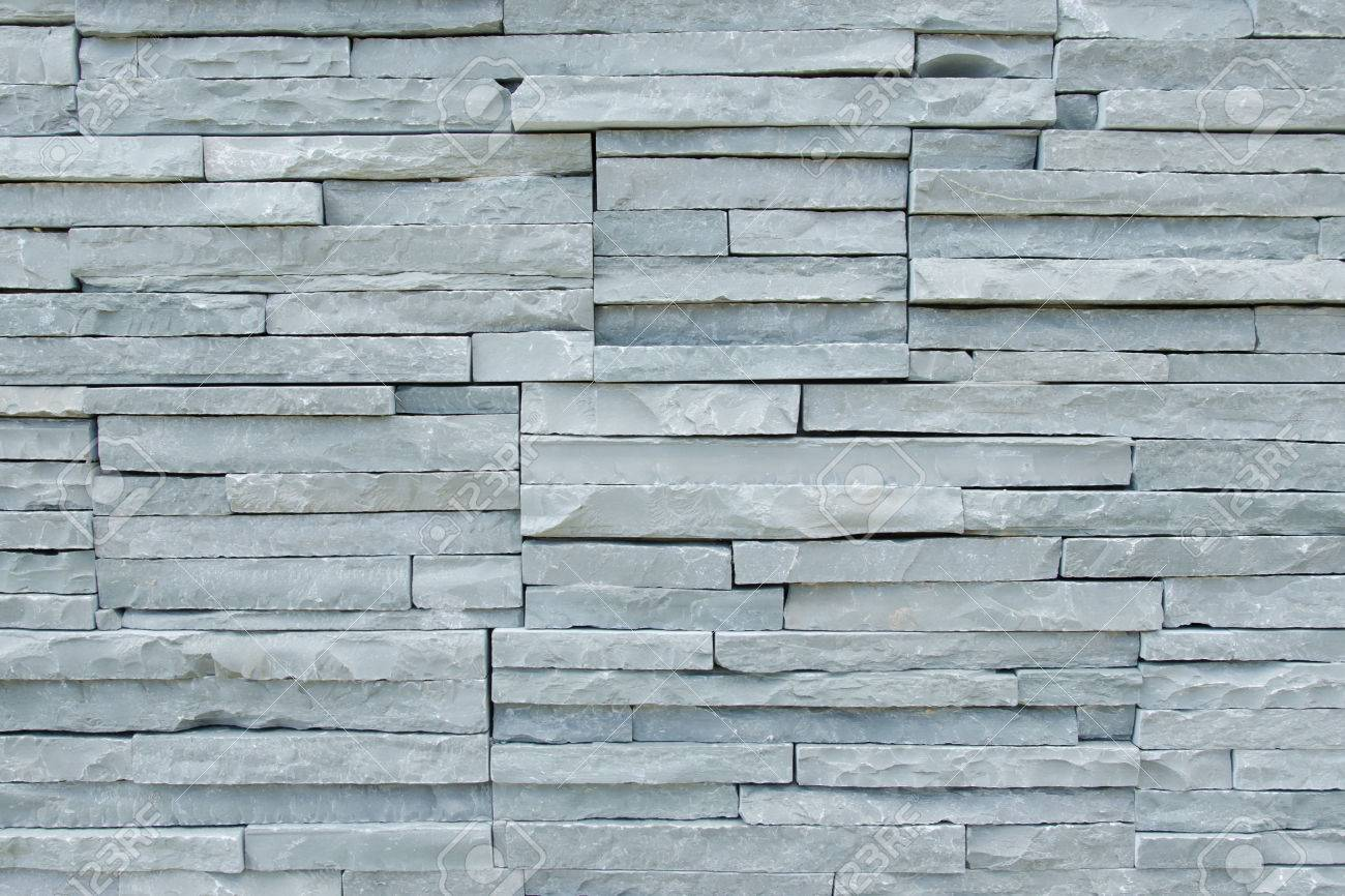 Detail Of Thin Limestone Slabs Tiling On The Wall Stock Photo ...