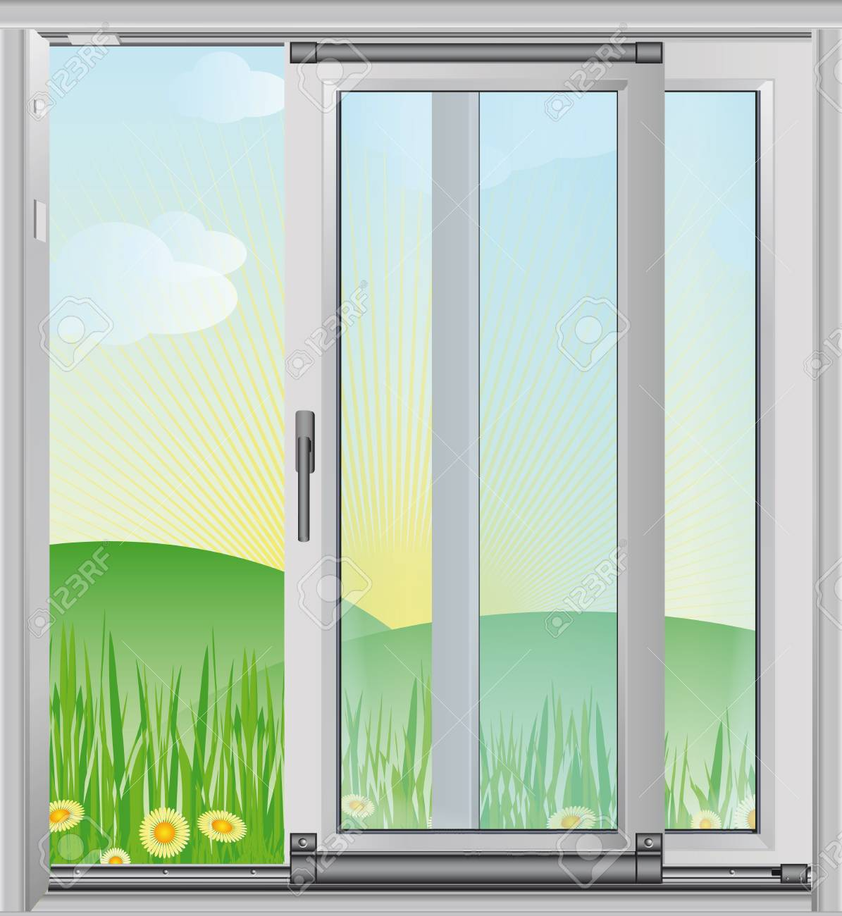 Spring scenery outside the window - vector illustration Stock Vector - 12924542