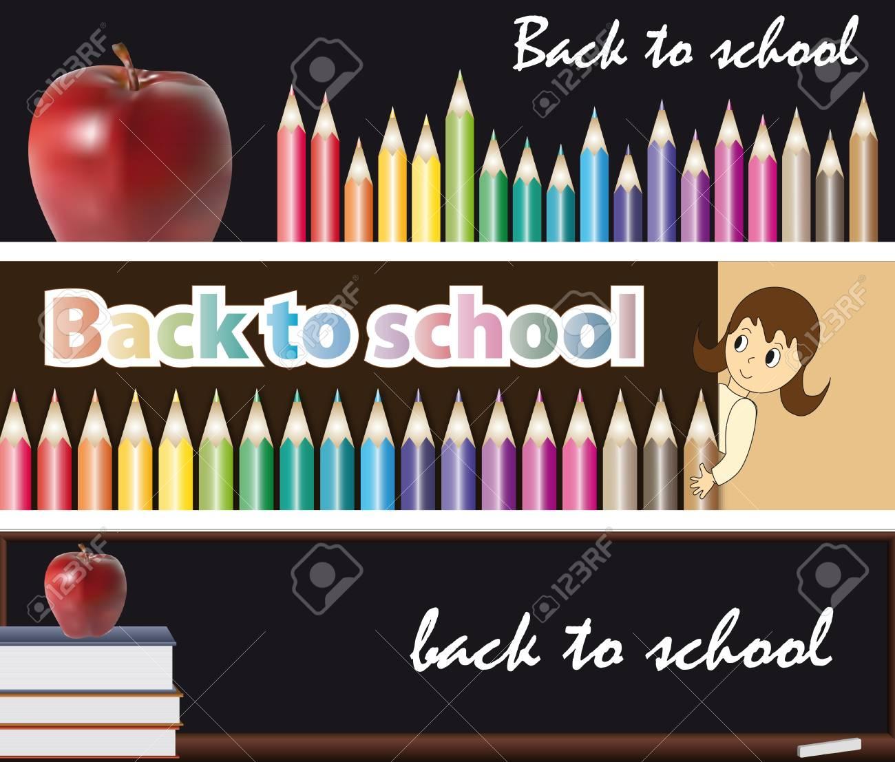 3 banners, back to school illustration Stock Illustration - 14766280