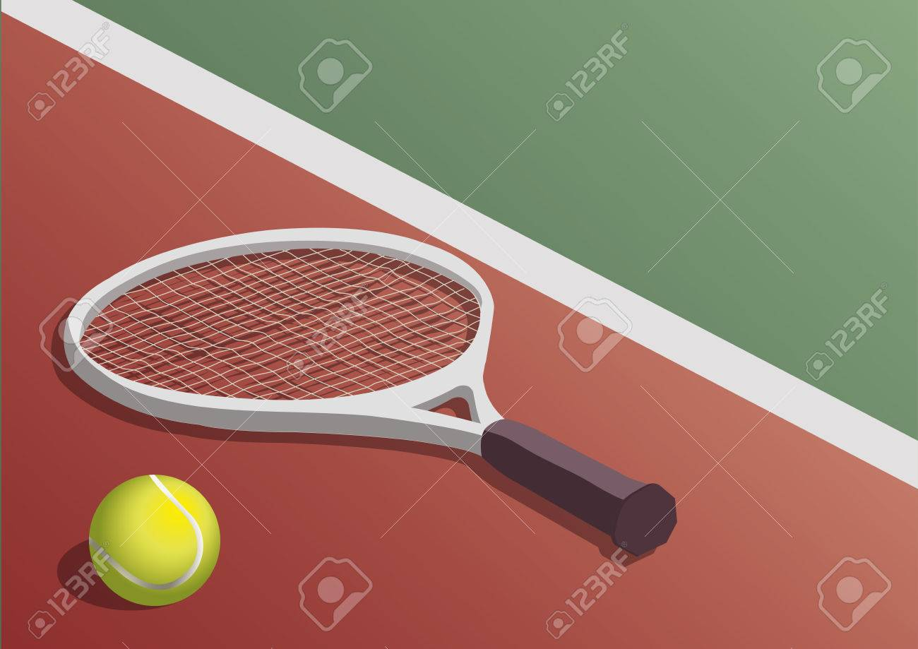 Tennis Racket And Ball In The Court Floor Royalty Free Cliparts