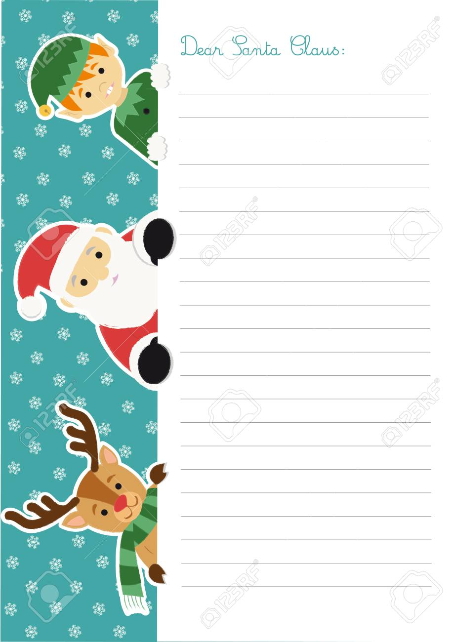 letter template to santa claus with an illustration of him accompanied by an elf and to