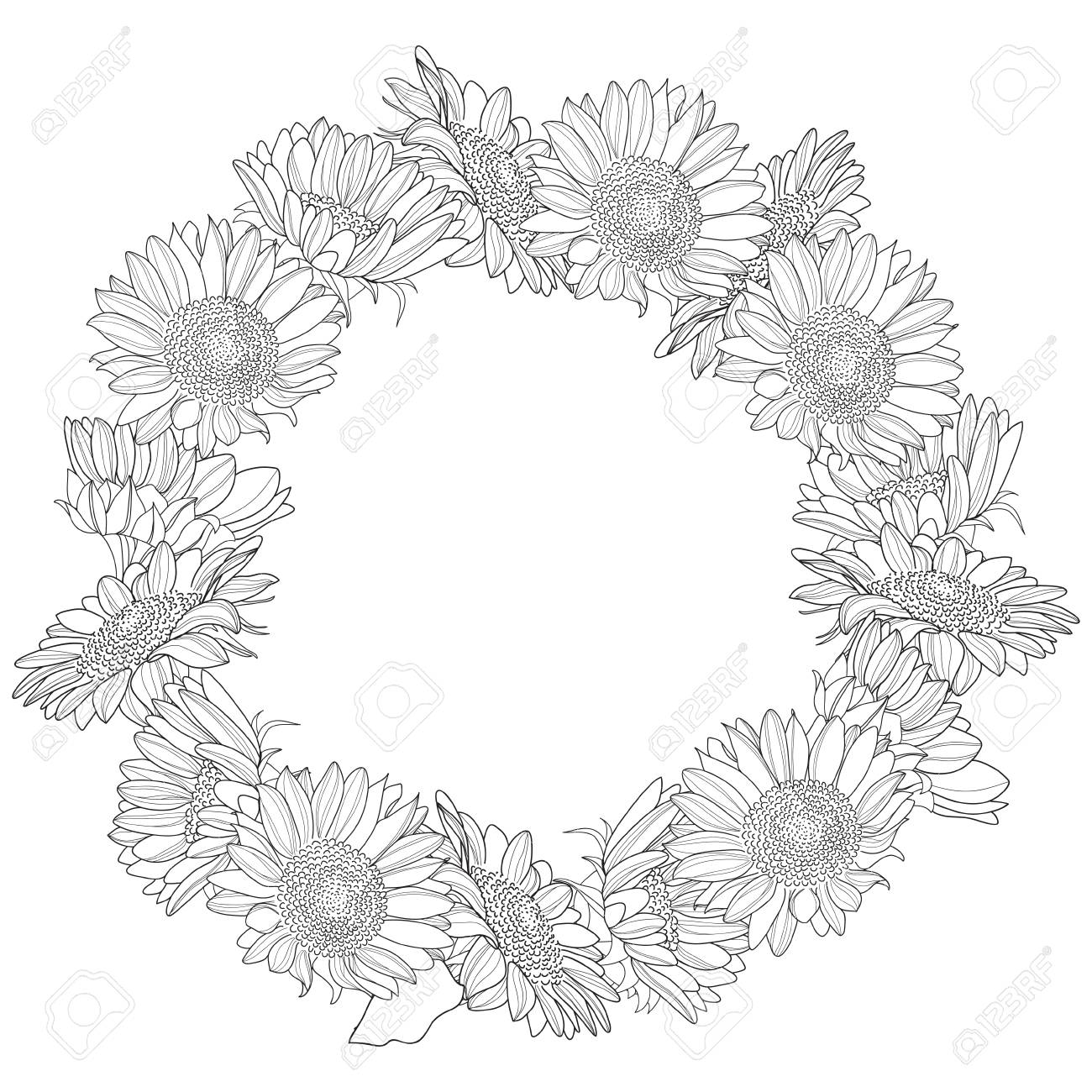 Wreath Made Of Sunflowers Royalty Free Cliparts Vectors And Stock Illustration Image 48721110