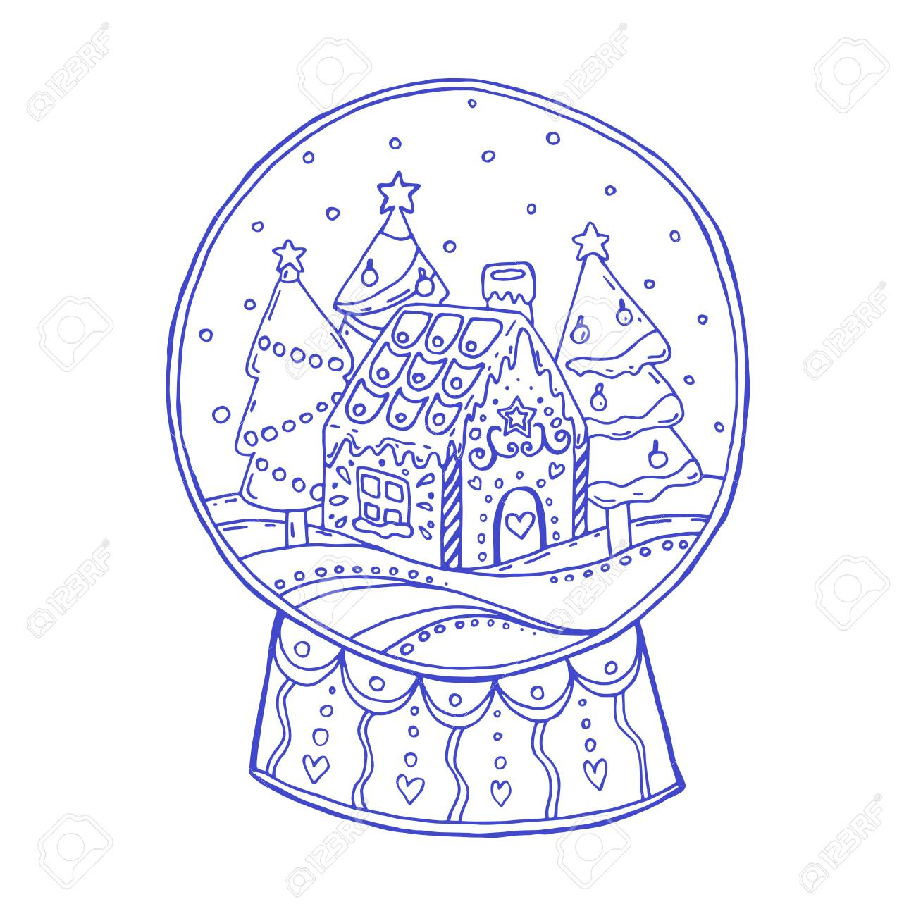 Christmas Gingerbread House Drawing.Snow Globe With Christmas Trees And Gingerbread House Inside