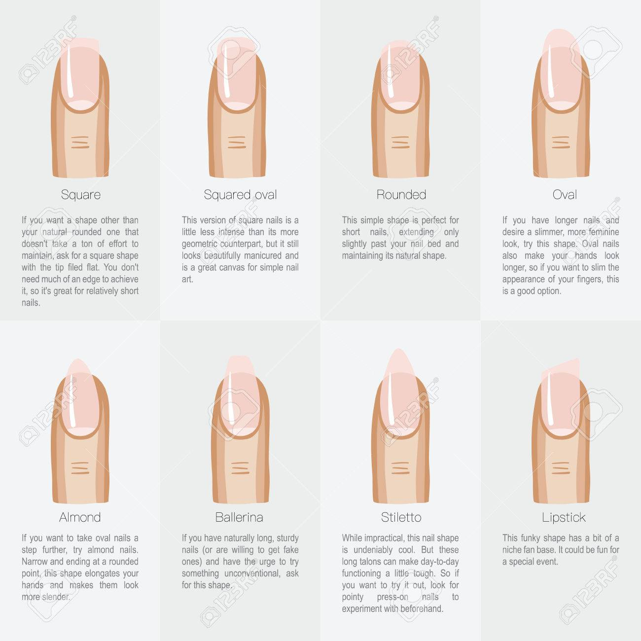 Set Of Different Shapes Of Nails. Vector Illustration Royalty Free ...