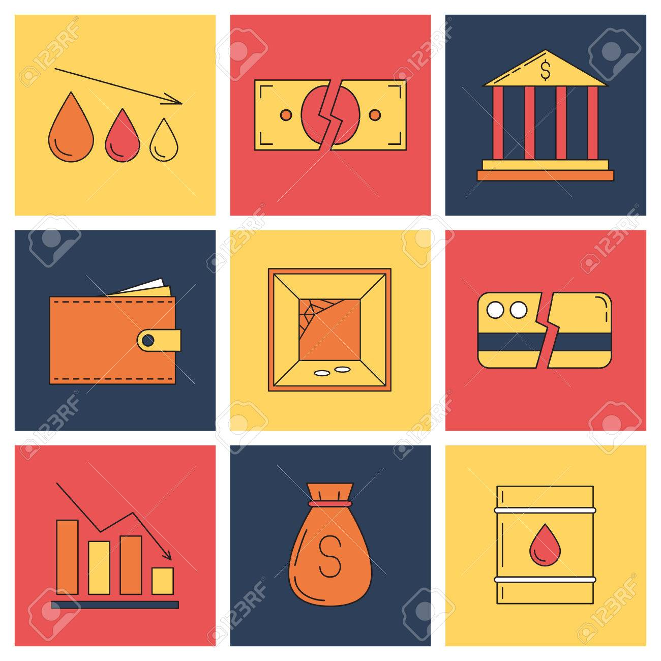 Set Of Economy Crysis Icons Vector Illustration Royalty Free