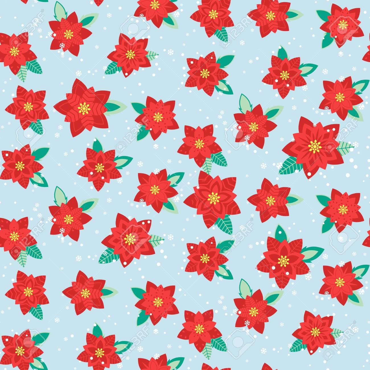 Stella Di Natale Cartamodello.Modello Di Natale Senza Soluzione Di Continuita Con Fiori Stella Di Natale Illustrazione Vettoriale